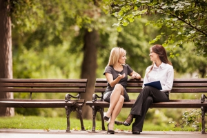 Women on a park bench